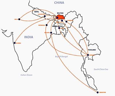 flight map Bhutan travel guide