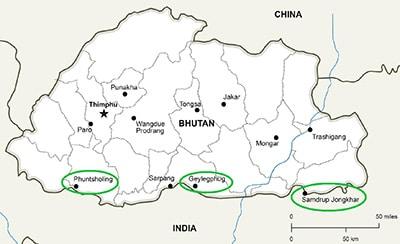 bhutan map Bhutan travel guide