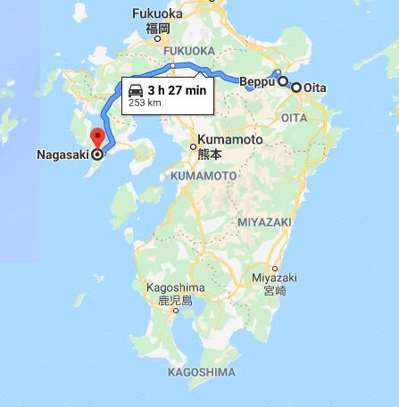 beppu nahasaki road trip map