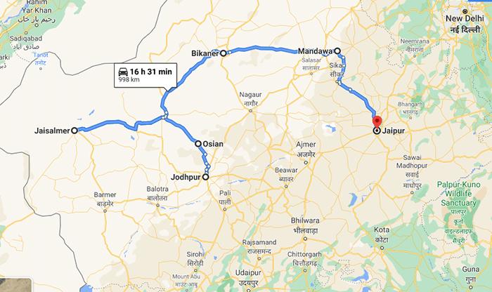 Rajasthan road trip map